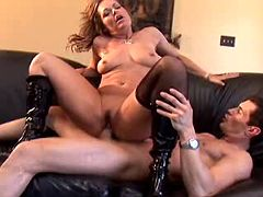 Hot redhead milf in high boots fucking like crazy