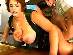 Waitress w big tits has fun w guys