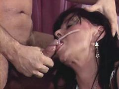 Lewd mature gets facial after fuck