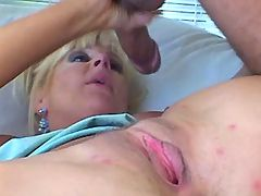 Blonde milf gets fuck in all holes