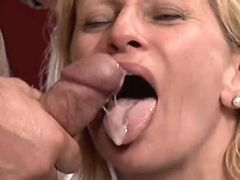 Blonde mature tastes cum after fuck