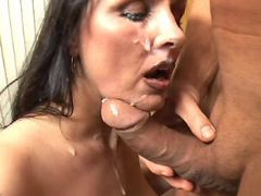 Brunette mature gets cum on face