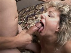 Old mom fucks and gets cum in mouth