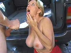 Mom in red dress gets facial after intense assfuck