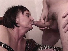 Granny has oral n sex with two guys
