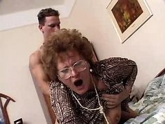 Granny sucks and fucks from behind
