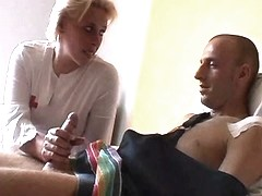 Mature nurse sucks n jumps on cock
