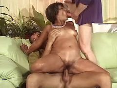 Horny guys share depraved old lady