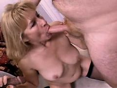 Mature sucks cocks n fucks in orgy
