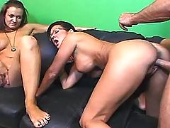Milf gets cock and big dildo in ass