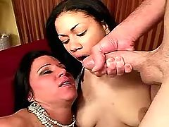 Two sluts matures served three guys
