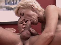Blond busty mature has hot oral sex
