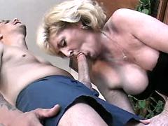 Mature does blowjob and rides cock